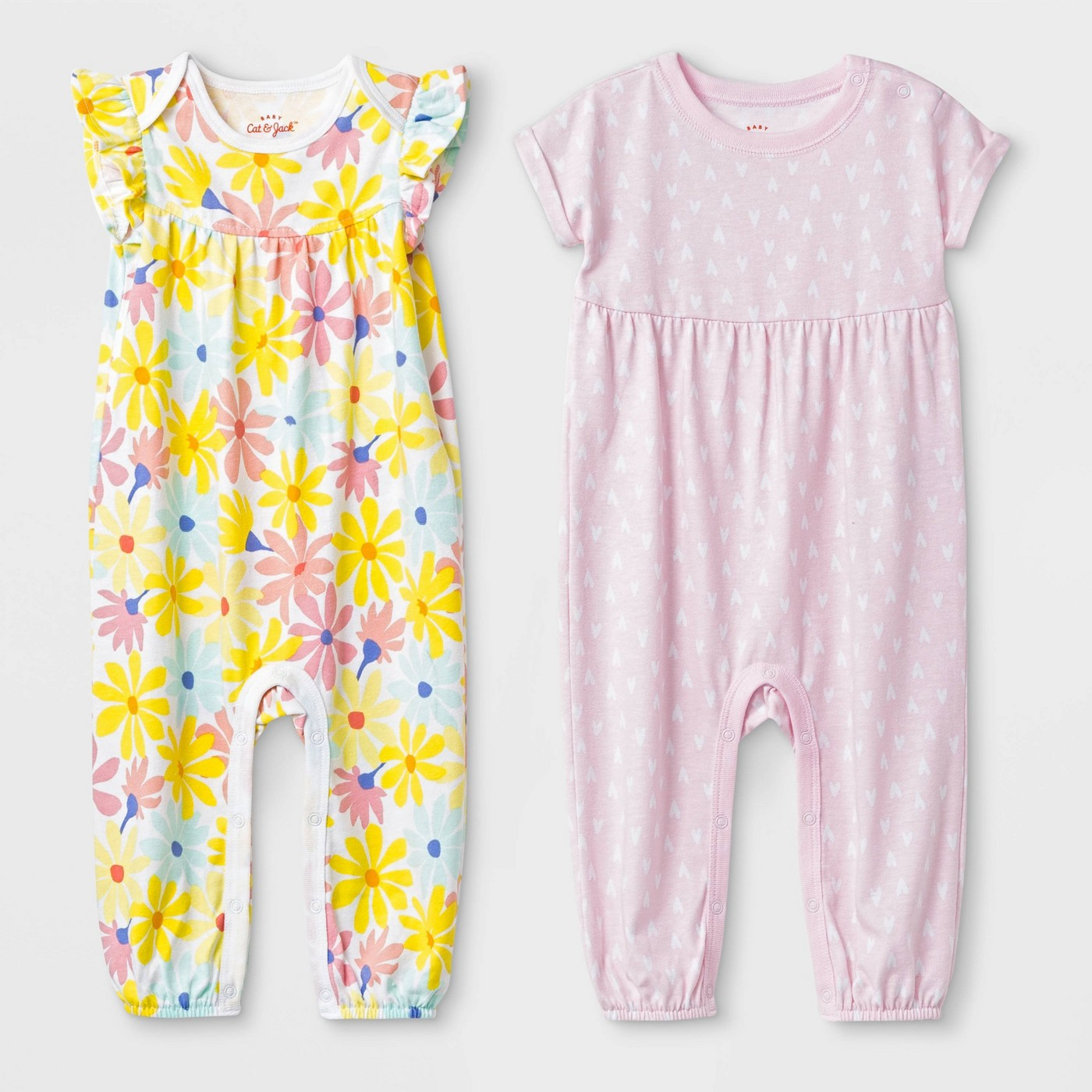 Baby Girls' 2pc Flutter Sleeve Floral and Short Sleeve Heart Rompers - Cat & Jack™ Pink/Yellow - image 1 of 1