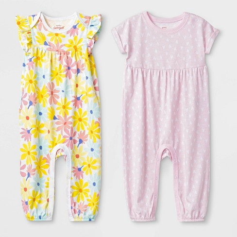 43cc0bafc2 Baby Girls  2pc Flutter Sleeve Floral and Short Sleeve Heart Rompers - Cat    Jack™ Pink Yellow
