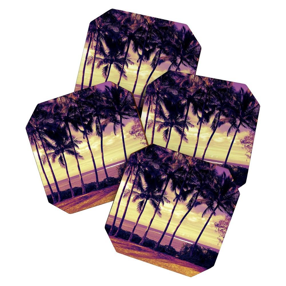 Image of Deb Haugen Crozier Sunset Coaster Set - Light Gold - Deny Designs