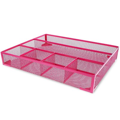 Juvale Pink Mesh Metal Office Desk Drawer Organizer Tray, 15 x 12 x 2.5 inches
