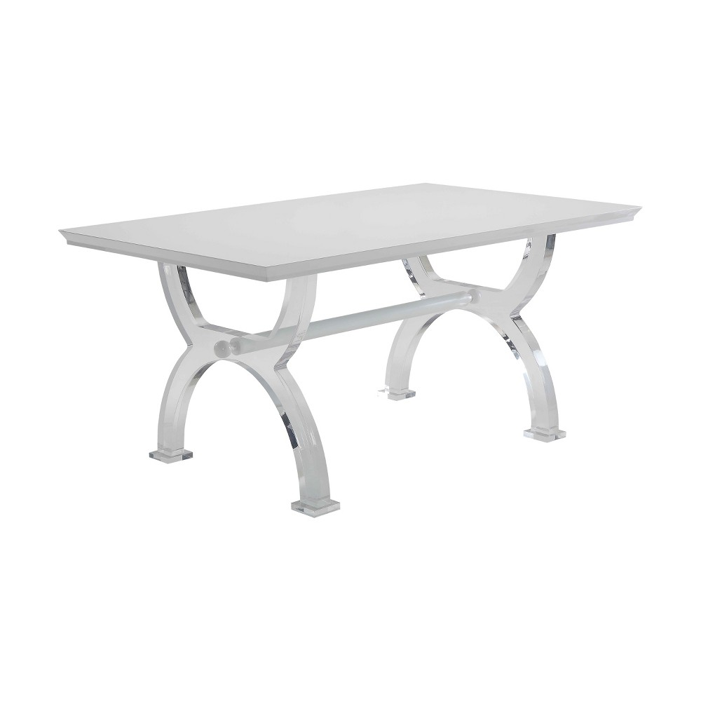 Acme Furniture Martinus Dining Table /Clear Acme Furniture Martinus Dining Table White/Clear