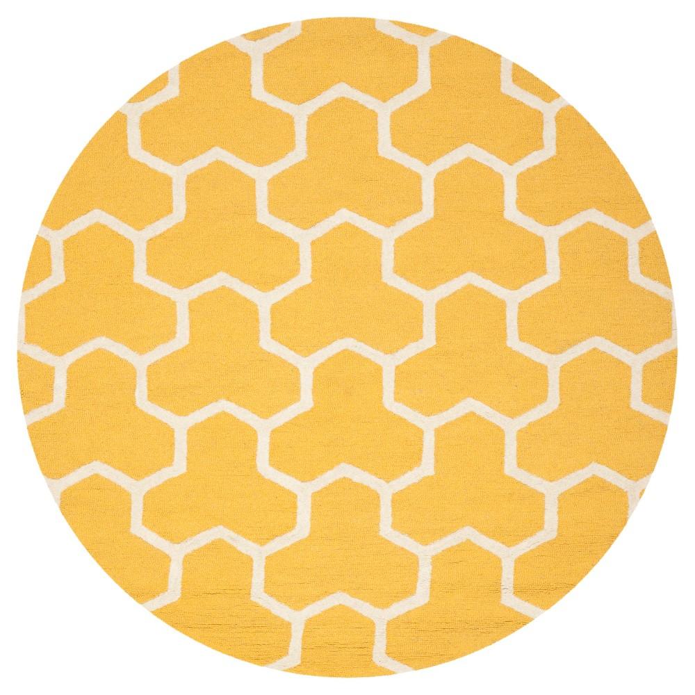 Delmont Texture Wool Rug - Gold / Ivory (6' X 6' Round) - Safavieh, Gold/Ivory