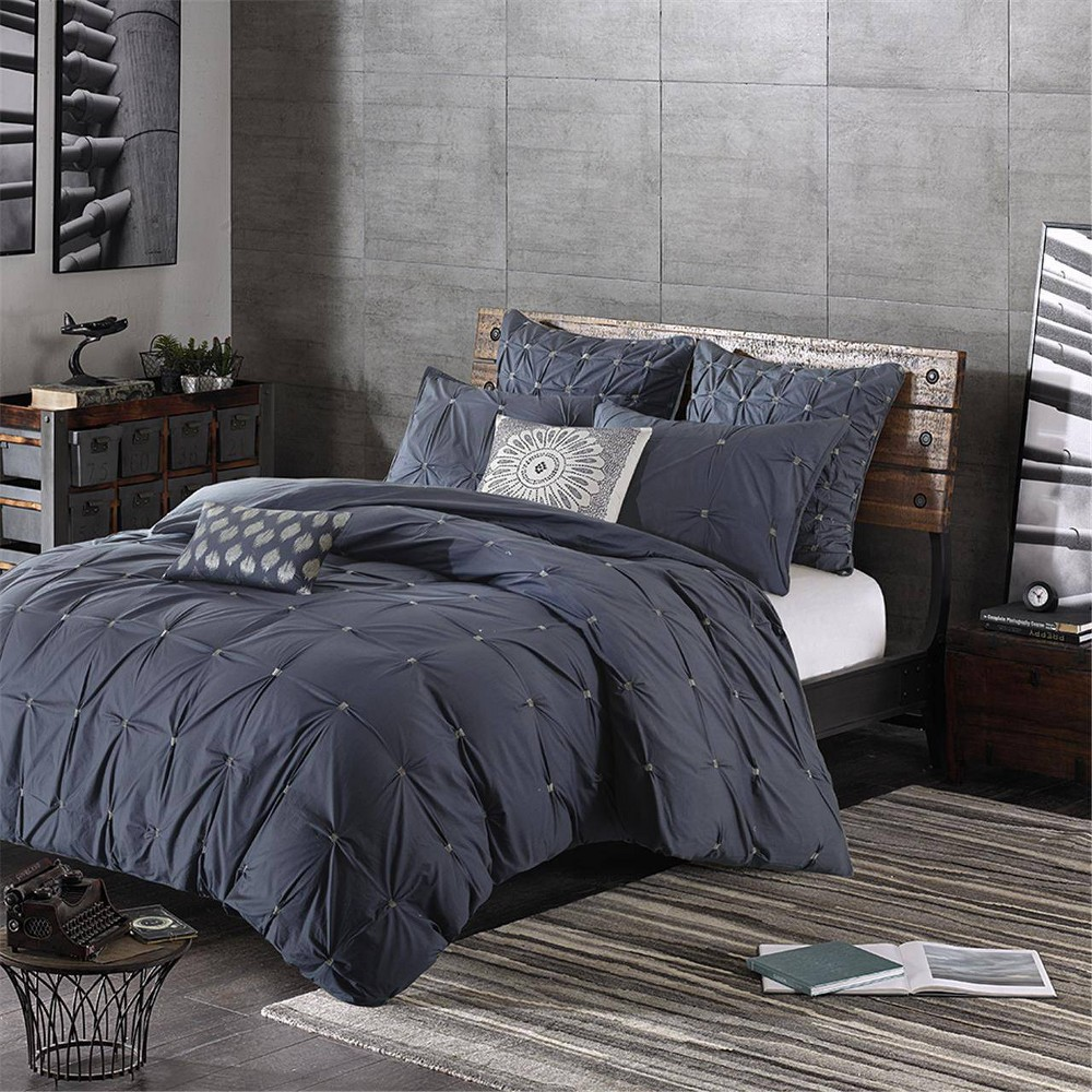 Masie Full Queen N A Embroidered Cotton Duvet Cover Set Navy