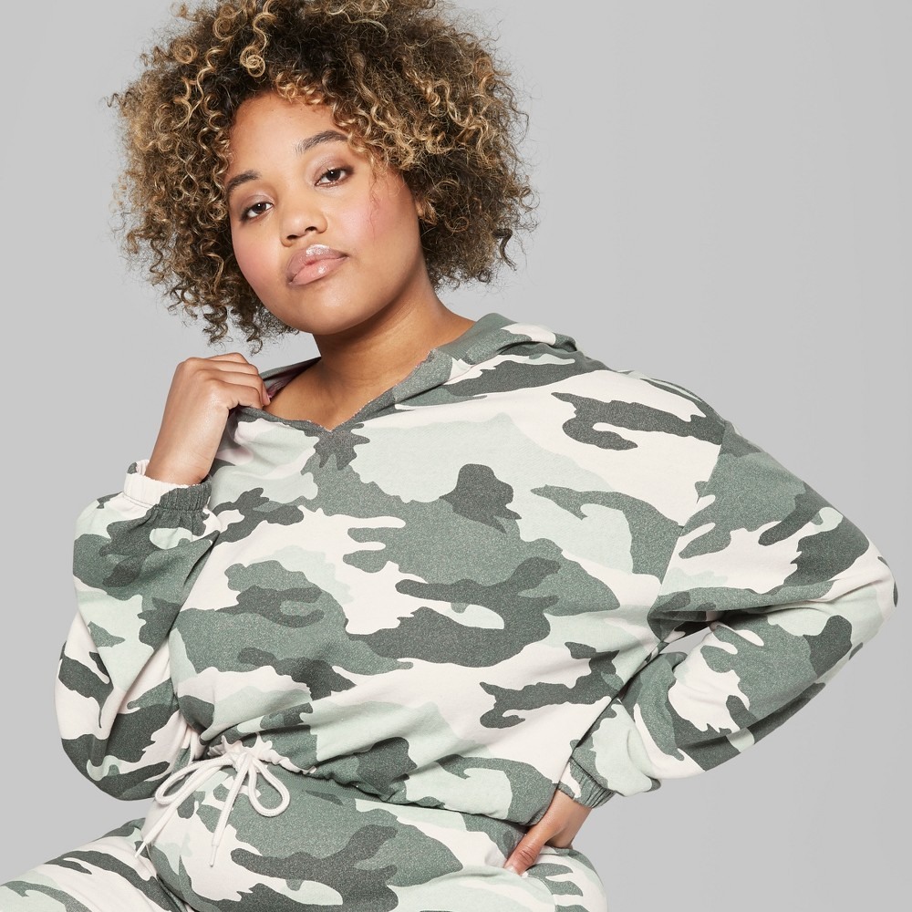 Women's Plus Size Camo Print V-Neck Sweatshirt - Wild Fable Green 4X