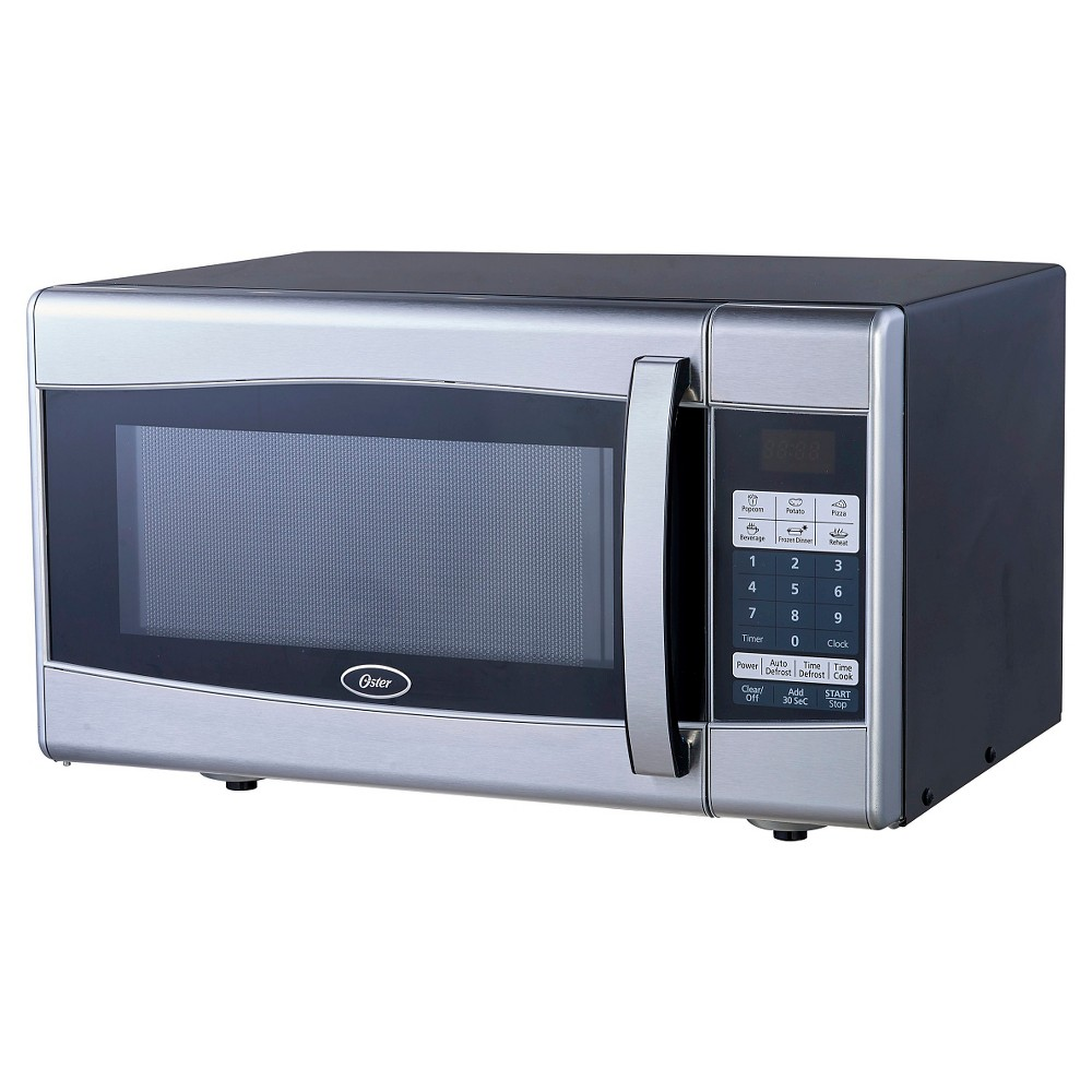Image of Oster 0.9 Cu. Ft. 900 Watt Digital Microwave Oven - Black & Stainless Steel OGXE901, Silver