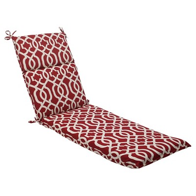 Outdoor Chaise Lounge Cushion - Red/White Geometric