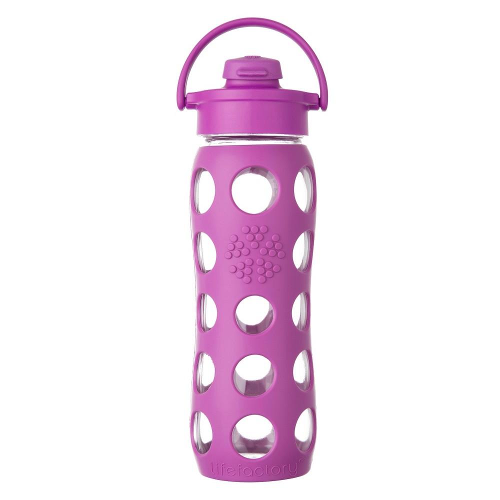 Lifefactory 22oz Glass Flip Cap Water Bottle - Huckleberry, Pink