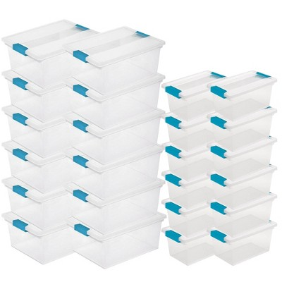 Sterilite Deep Clip Box Container (12 Pack) w/ Medium Clip Box, Clear (12 Pack)