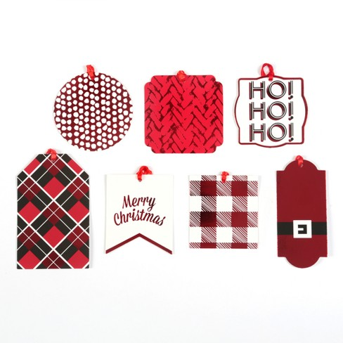 50ct Holiday Pattern Flocked Can-O-Tags Red/Plaid - Wondershop™ - image 1 of 1