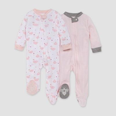 Burt's Bees Baby® Girls' 2pk Graceful Swan Sleep N' Play - Pink 0-3M