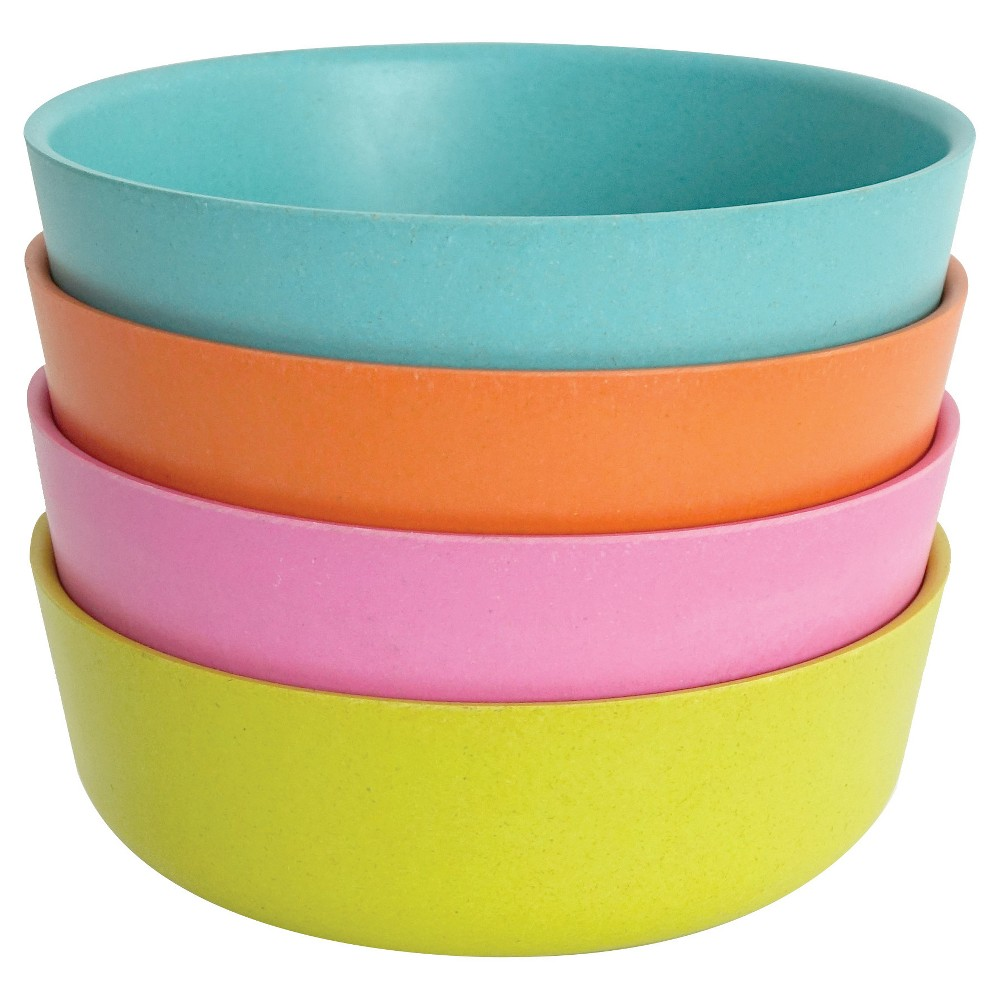 Image of Biobu by Ekobo Bambino 20oz Bowls - Set of 4, Blue Pink Green