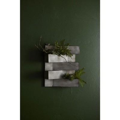 """Melrose 21"""" Geometric Layered Triangles and Bird Abstract Outdoor Planter - Gray"""