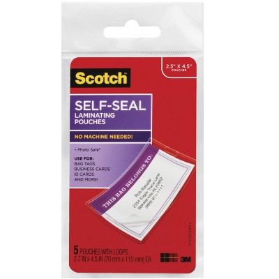 Scotch Self-Sealing Laminating Pouch, 2-3/4 x 4-1/2 Inches, Clear, pk of 5