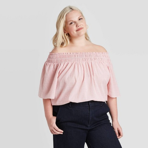 Women's Plus Size Short Sleeve Smocked Yoke Top - A New Day™ - image 1 of 2