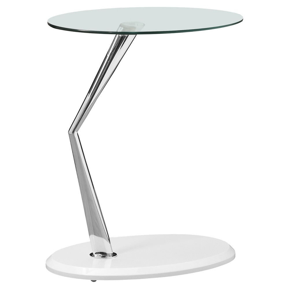 Accent Table - Chrome Tempered Glass, Glossy White - EveryRoom