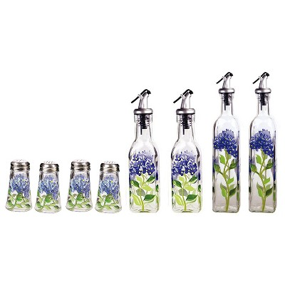 Grant Howard Glass Salt and Pepper Shaker Set and 2 Oil Vinegar Cruet Bottles Hand Painted with Hydrangeas, Blue