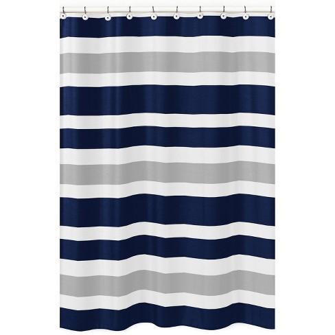 Striped Shower Curtain Navy/Gray - Sweet Jojo Designs - image 1 of 3