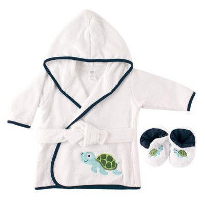 Luvable Friends Baby Boy Cotton Terry Bathrobe, Turtle, One Size