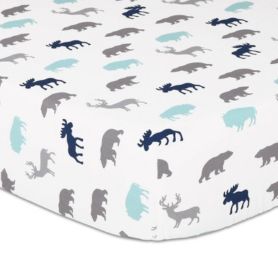 The Peanutshell Woodland Silhouette Navy/Grey Fitted Sheet