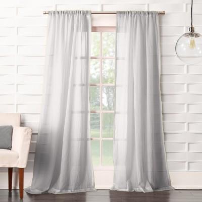 Avril Crushed Sheer Rod Pocket Curtain Panel Gray 50 x84  - No. 918