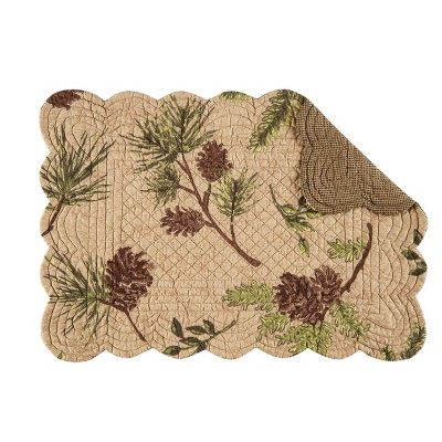 C&F Home Woodland Retreat Cotton Quilted Rectangular Reversible Placemat Set of 6