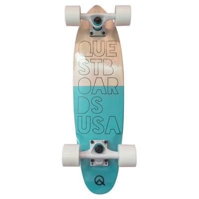 """Quest """"Reef"""" 24"""" Cruiser Skateboard - Light Blue/Wood"""