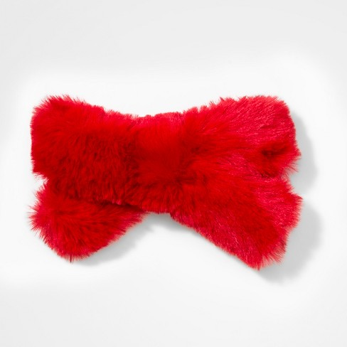 Girls' Fuzzy Bow Barrete - Cat & Jack™ Red - image 1 of 3
