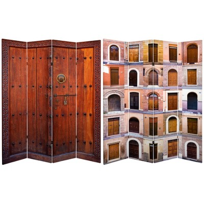 6' Tall Double Sided Doors Canvas Room Divider 4 Panel - Oriental Furniture