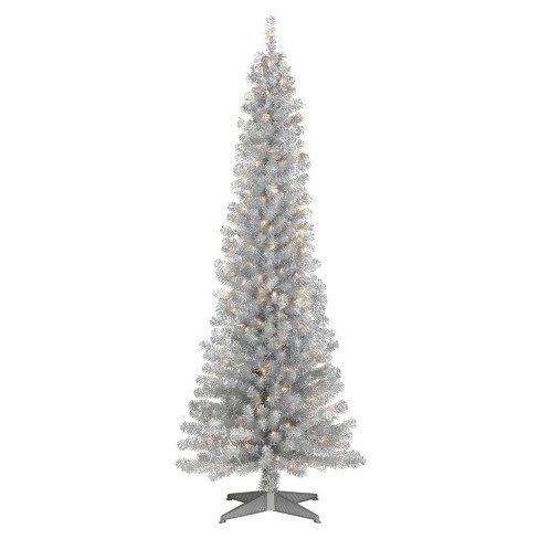 low priced 9454f 00698 6ft Pre-lit Artificial Christmas Tree Slim Silver Tinsel Alberta Spruce  Clear Lights - Wondershop™
