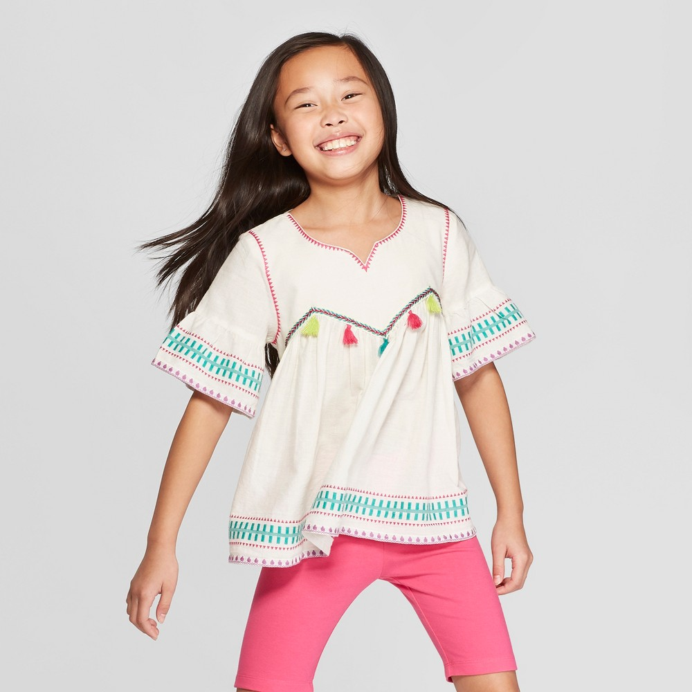 Girls' Woven Embroidered Top - Cat & Jack Cream XL, Beige