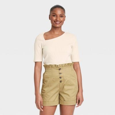 Women's Elbow Sleeve Asymmetrical Neck T-Shirt - Who What Wear™