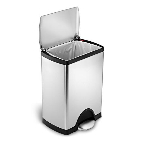 Simplehuman 30 Liter Rectangular Step Trash Can Fingerprint Proof Brushed Stainless Steel