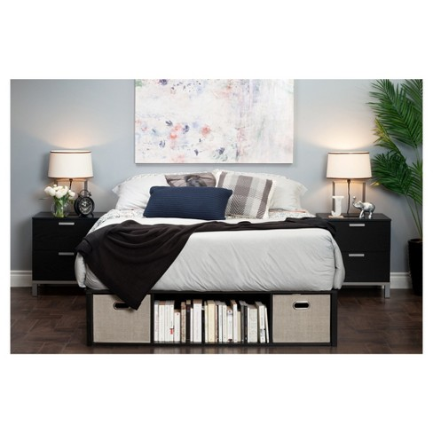 Flexible Platform Bed with Storage and Baskets - Queen - Black Oak ...