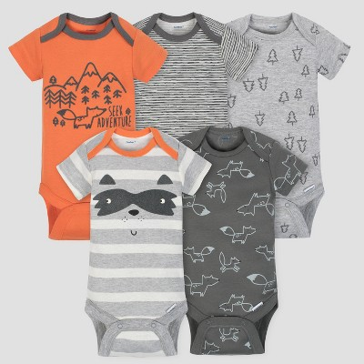 Gerber Baby Boys' 5pk Short Sleeve Onesies Bodysuit Explorer - Gray/Orange 6/9M