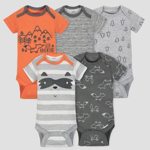 241a08a3c Gerber Baby Boys' 5pk Short Sleeve Onesies Bodysuit Explorer - Gray/Orange