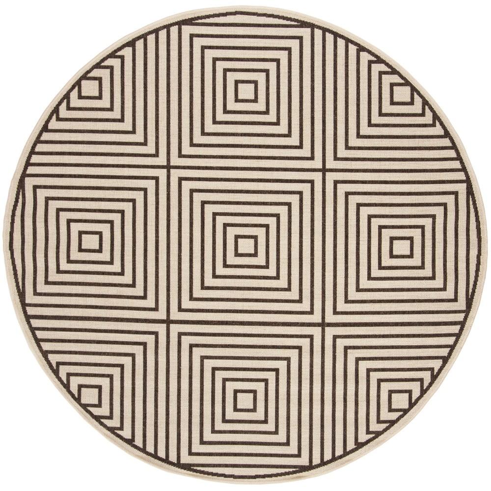 6'7 Geometric Loomed Round Area Rug Natural/Brown - Safavieh