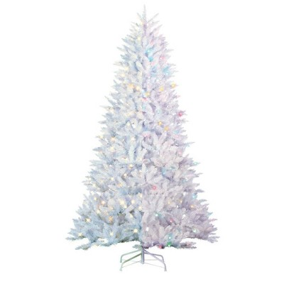 7.5ft Sterling Tree Company Full White Parkview Pine with 600 Color Changing LED Lights Artificial Christmas Tree