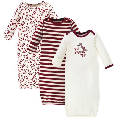 Touched by Nature Baby Girl Organic Cotton Long-Sleeve Gowns 3pk, Berry Branch