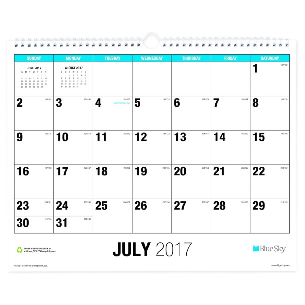 2017-2018 Blue Sky Academic Wall Calendar - Blue Accents Wide, White
