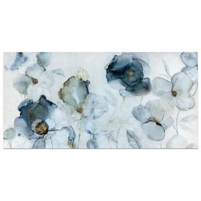 24 x48  Flowered Indigo By Carol Robinson Art On Canvas - Fine Art Canvas