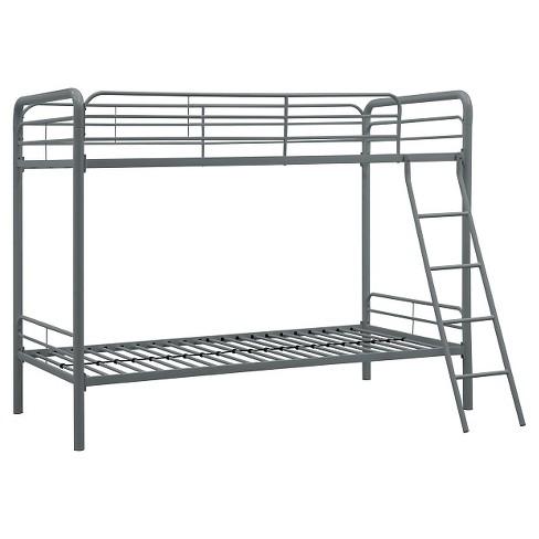 Evan Twin Over Twin Metal Bunk Bed Silver Room Joy Target