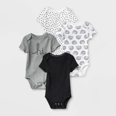 Baby 4pk Short Sleeve Bodysuit - Cloud Island™ Black/White 0-3M