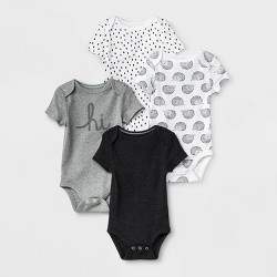 Baby 4pk Short Sleeve Bodysuit - Cloud Island™ Black/White