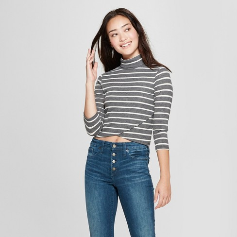 Women's Striped Long Sleeve Turtleneck Tulip Hem Top - Soul Cake (Juniors') Charcoal/Ivory - image 1 of 2