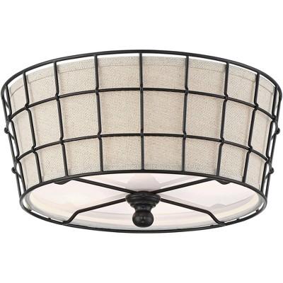"360 Lighting Rustic Farmhouse Ceiling Light Flush Mount Fixture Black Cage 16"" Wide Burlap Shade for Bedroom Kitchen Hallway"