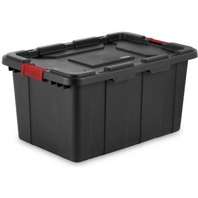 Sterilite 27-Gallon Durable Rugged Industrial Tote w/Red Latches, Black (8 Pack)