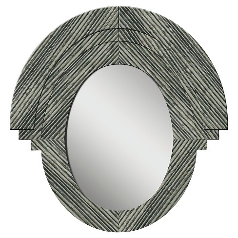 Oval Western Rustic Wood Decorative Wall Mirror Gray - PTM Images - image 1 of 1