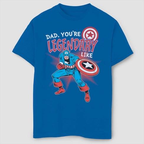 Boys' Marvel Captain America Legendary Like Dad Short Sleeve T-Shirt - Blue - image 1 of 1