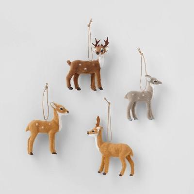 4ct Faux Fur Forest Animal Christmas Ornament Set - Wondershop™