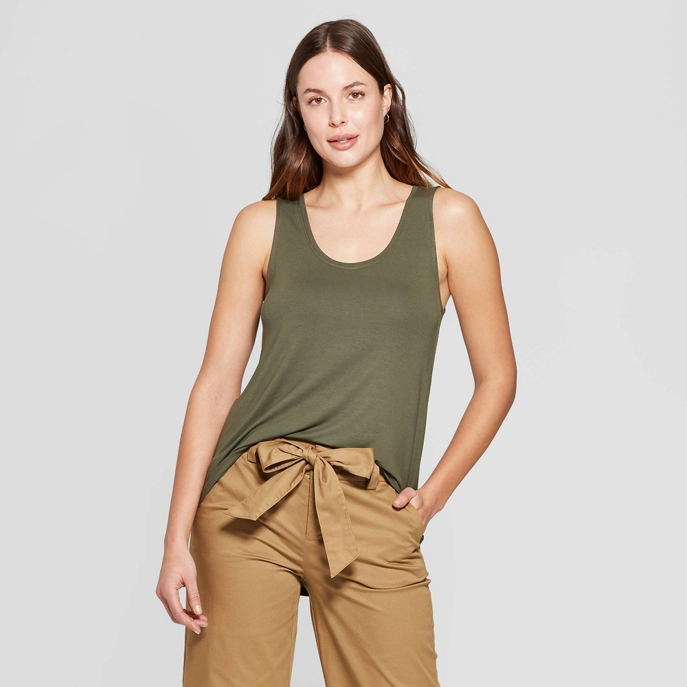 Women's Sleeveless Scoop Neck Tank Top - A New Day Olive (Green) XL